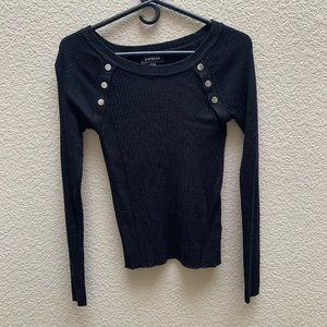 Express Black Sweater with button detailing